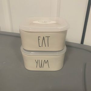 PRICE FIRM New Rae dunn yum and eat bowls lids